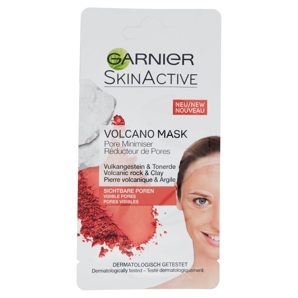 Garnier Skinactive Garnier Maschera Viso Monodose Affina-pori alla Roccia di Origine Vulcanica per Pelli con Impurità